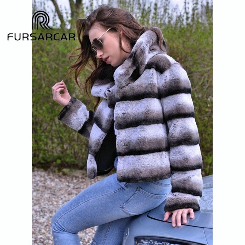 Luxe Fursarcar Style D'hiver Chaud Avec Col Réel Femmes Fourrure De Épaisse Lapin Rex Veste Nouveau Manteau rXxXfASw