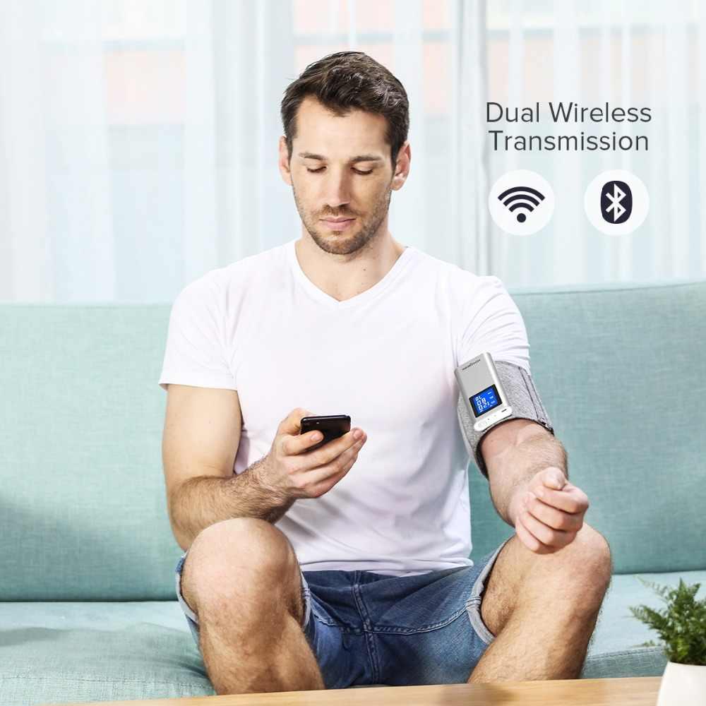 Koogeek FDA الذكية الذراع مراقبة ضغط الدم واي فاي بلوتوث Sphygmomanometer قابلة للشحن شاشة LCD كبيرة ل iOS أندرويد