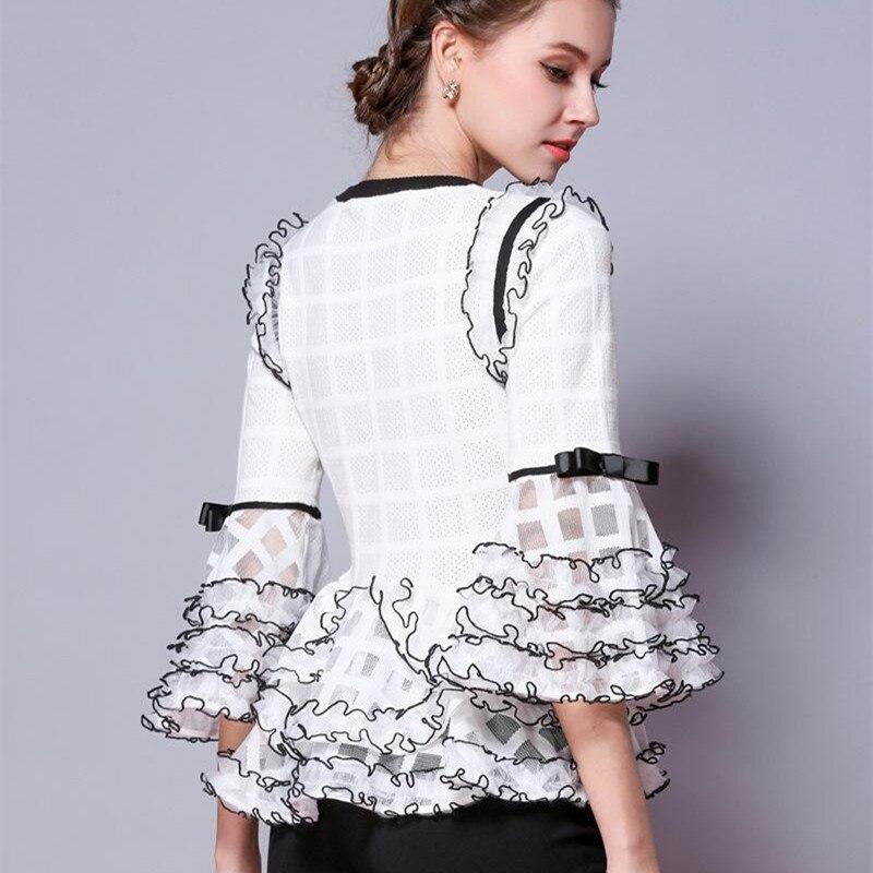 Trimestre Tops blanc Manches Noir Flare Trois Tricot De X155 Chandail Pulls O Nouveau Femme Évider Automne Femmes 2018 Cou Mode Ruche pVUMSz