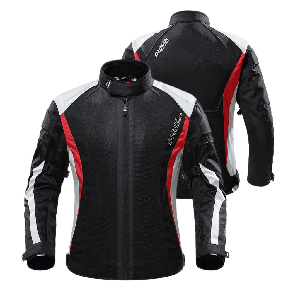 DUHAN Motorcycle Jacket Men Breathable Racing Protective Gear Removable Protector Retro Summer Moto Jacket Riding Clothing BlackDUHAN Motorcycle Jacket Men Breathable Racing Protective Gear Removable Protector Retro Summer Moto Jacket Riding Clothing Black