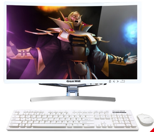 23.5 27 32 Inch All In One Curved Screen Computer Desktop Pc With I5-7400/8G/120G/GT1050 4G