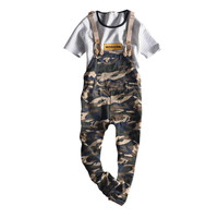 2017 Summer Free Shipping Men Camouflage Denim Overalls Camo Print Bib Jeans Overall Denim Pants Army