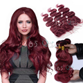 7A Soft Ear to Ear 13x4 Lace Frontal Closure With Bundles Brazilian Virgin Hair Body Wave Pure Burgundy Natural Hairline