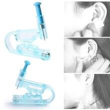 1 pc indolor descartável saudável assepsis orelha piercing gun pierce kit azul nenhuma infecção nenhuma inflamação orelha piercing arma ferramenta
