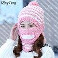 Winter Women Knitted Hats Scarf Neck Warmer Winter Hat Knight Helmet Girls Hat Beard Mask With Scarf Ear Warm Ski Sports beanies