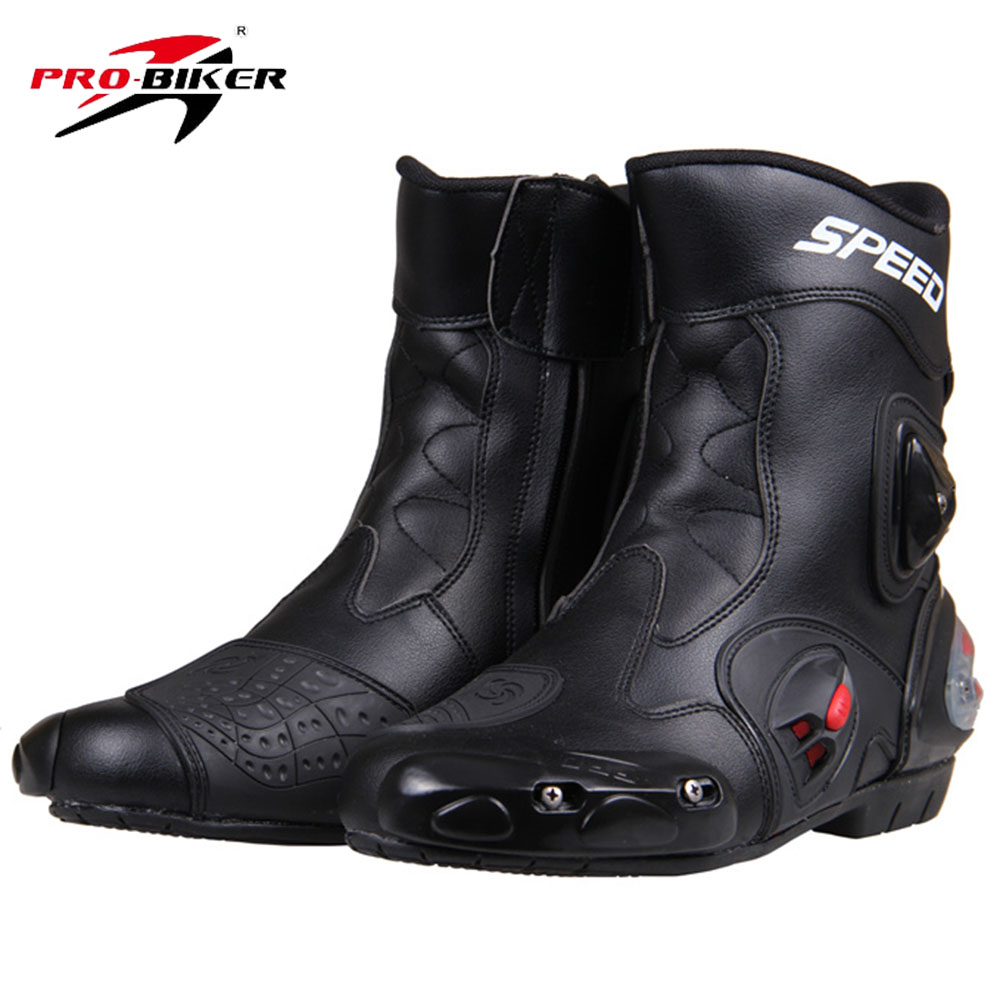 PRO-BIKER SPEED BIKERS Motorcycle Racing Boots Motorcycle Riding Boots Men Motocross Off-Road Motorbike Boots Moto Shoes A004 new scoyco moto racing leather boots motorcycle boots shoes motorbike riding sport road speed professional botas