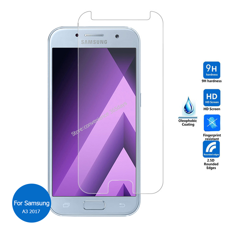 2PCS For <font><b>Samsung</b></font> <font><b>Galaxy</b></font> <font><b>A3</b></font> <font><b>2017</b></font> Tempered <font><b>Glass</b></font> Screen Protector 9h Safety protective Film on A 3 320F SM A320F SM-A320F image