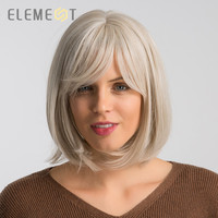 Element 12 inch Synthetic Wig With Bangs Creamy White Color Natural Headline Cosplay Party Replacement Work Wigs for Women