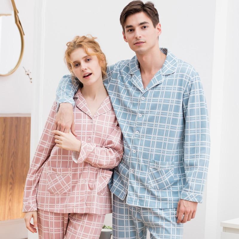 Autumn Grid Pyjamas Cotton Couple Pajamas Set Women Sleepwear Pajama Sets Pijamas Mujer Lover Pyjamas Homewear Clothing