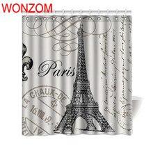 WONZOM Eiffel Tower Polyester Fabric Shower Curtains with 12 Hooks For Bathroom Decor Modern Landscape Bath Waterproof Curtain waterproof eiffel tower floral polyester shower curtain