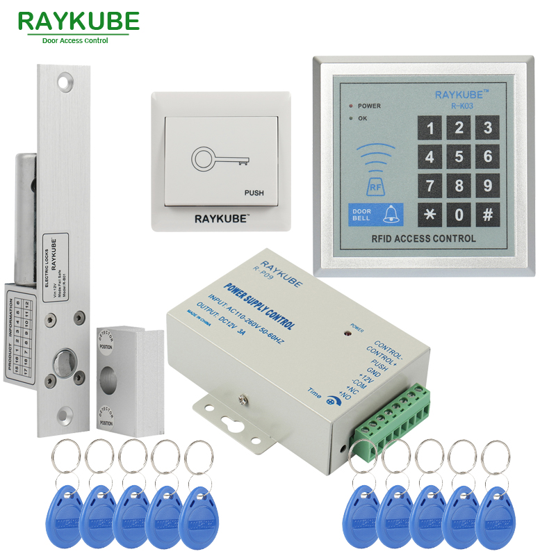 RAYKUBE Door Access Control Kit Set Electric Bolt Lock + Password Keypad FRID Reader For Office Glass Door Single Or Double Door raykube glass door access control kit electric bolt lock touch metal rfid reader access control keypad frameless glass door