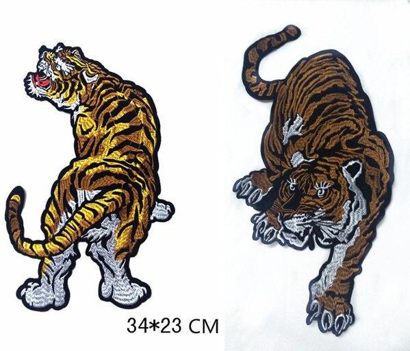 Zvířata Tiger Applique Vyšívané záplaty pro látku, ručně vyrobené květiny Oděvní kolíky pro šití patch
