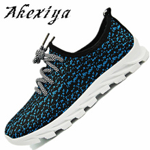 Akexiya New design men shoes summer lightweight breathable air mesh casual shoes jogging flat shoes zapatillas hombre