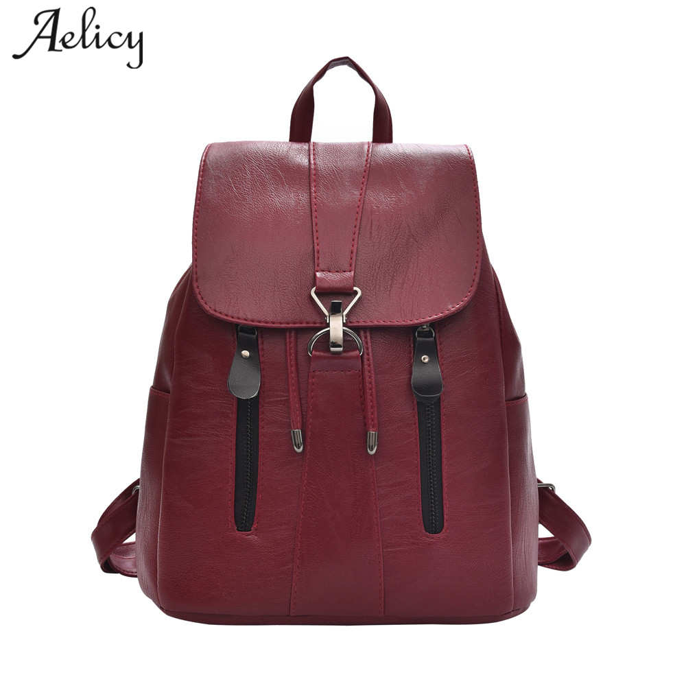 Aelicy Women Large Capacity Backpack High Quality Leather School Bags For Teenagers Girls Top-handle Backpacks Mochila Escolar