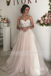 Image 2 - 아가씨 neckline a 라인 레이스 applique tulle 웨딩 드레스와 backless 지퍼 벨트 신부 드레스 vestido de novia