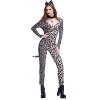 2017 New Luxury Leopard Catwomen Sexy Costume Night Club Perfermance Wear Cat Lady Sexy Bodysuit Cosplay