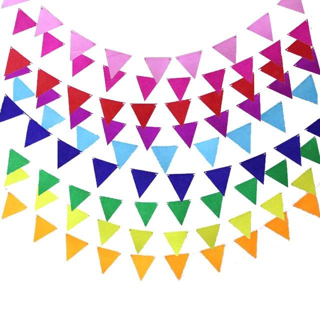 1 juego DIY decoración de Banner de habitación para niños banderas de papel coloridas guirnalda banderines niños cumpleaños/Decoración de fiesta de boda 8Z