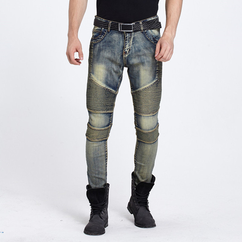 Brand New Mens Motorcycle Pants Male Golden Colors Jeans Stretch Slim Fold Fashion Personality Mens Elastic Trousers