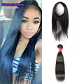 Peruvian straight virgin hair 360 frontal with bundles halo hair 2 bundle straight style with 360 Lace frontal pre plucked