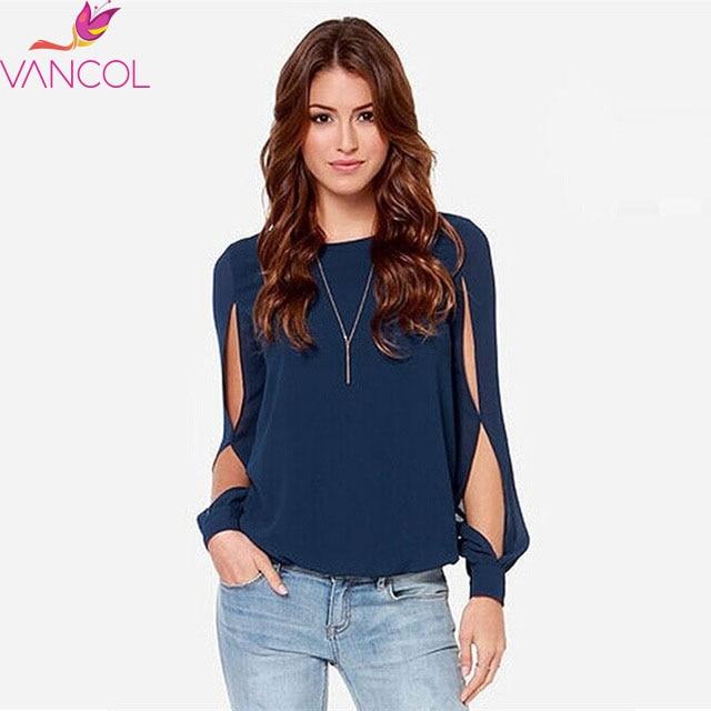 Vancol primavera verano  recién llegado de gran tamaño blusa camisas Tops gasa L