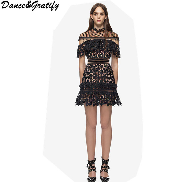 4952cd05bb4e2 2017 women self portrait style top grade new fashion elegant vestidos sexy  black mini runway spring summer lace boho dress