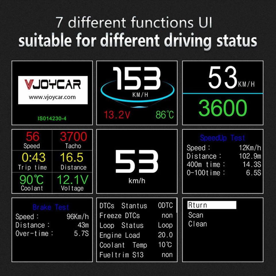 Image 4 - VJOYCAR Hud GPS ordenador OBD coche velocidad proyector velocímetro Digital Display consumo de combustible medidor de temperatura herramienta de diagnóstico-in Visualización frontal from Automóviles y motocicletas on AliExpress