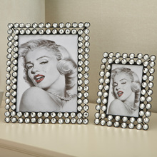 Iron frame fashion crystal beads square frame rack memorial gifts home photo frame decoration