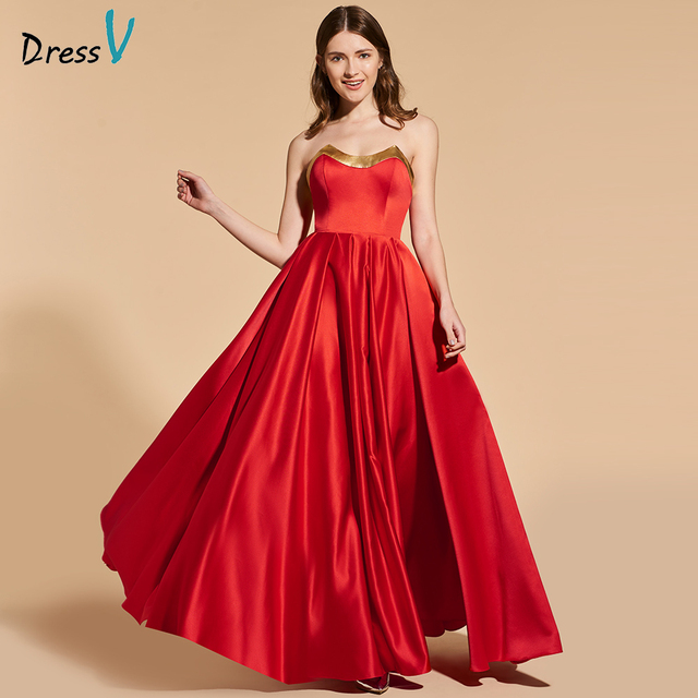Dressv elegant red long prom dress strapless empire waist simple a line ruched evening party gown prom dresses customize-in Prom Dresses from Weddings ...