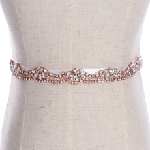 YANSTAR Bridal Rhinestone Wedding Belts Thin Crystal Iron On Ribbons With Box For Bridal Gowns
