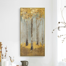 HAOCHU Modern Minimalist Porch Decorative Painting Vertical Aisle Gold Foil Fortune Tree Living Room Wall Arts Mural Home Poster