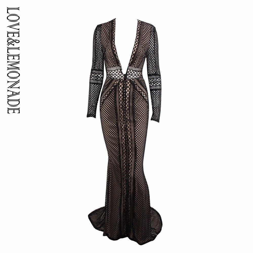 Love Lemonade Black Deep V Neck Mesh Back Lace Long Dress LM0729
