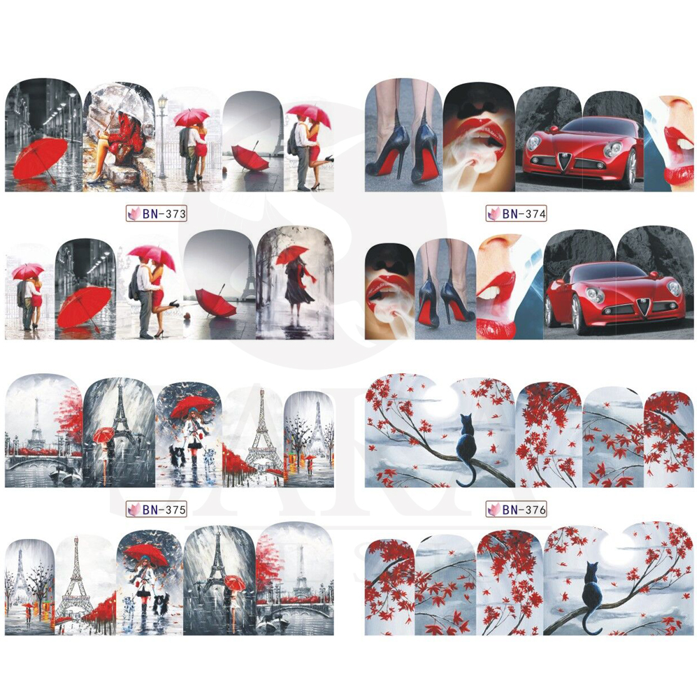 1pc Romantic Painting  Sexy Water Transfer Mixed Design Nail Art Decal Stickers Manicure Wraps DIY Decor Nail Tools SABN373-384 1 sheet beautiful nail water transfer stickers flower art decal decoration manicure tip design diy nail art accessories xf1408
