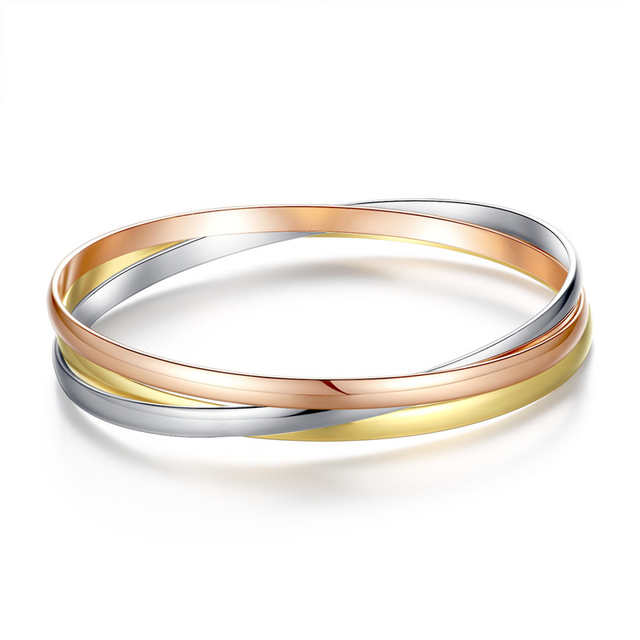 Fworld The New Cross Tricolor Bracelet Bangle Stainless Steel Rose Gold Silver And Color