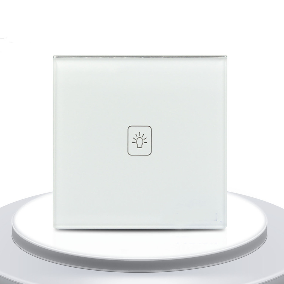 UK Standard 1 Gang 1 way Remote Control Dimmer Touch Switch White Crystal Glass Panel Remote Light Wall Switch in Switches from Lights Lighting