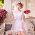 Princesa doce lolita vestido Doce chuva de Verão estilo Japonês doce arco rendas sem mangas vestido de princesa C16AB6035