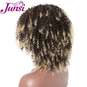 Image 3 - JUNSI Kısa Afro Kıvırcık Sentetik Peruk Kadınlar için Ombre Altın Doğal Peruk Patlama ile Cosplay Parti