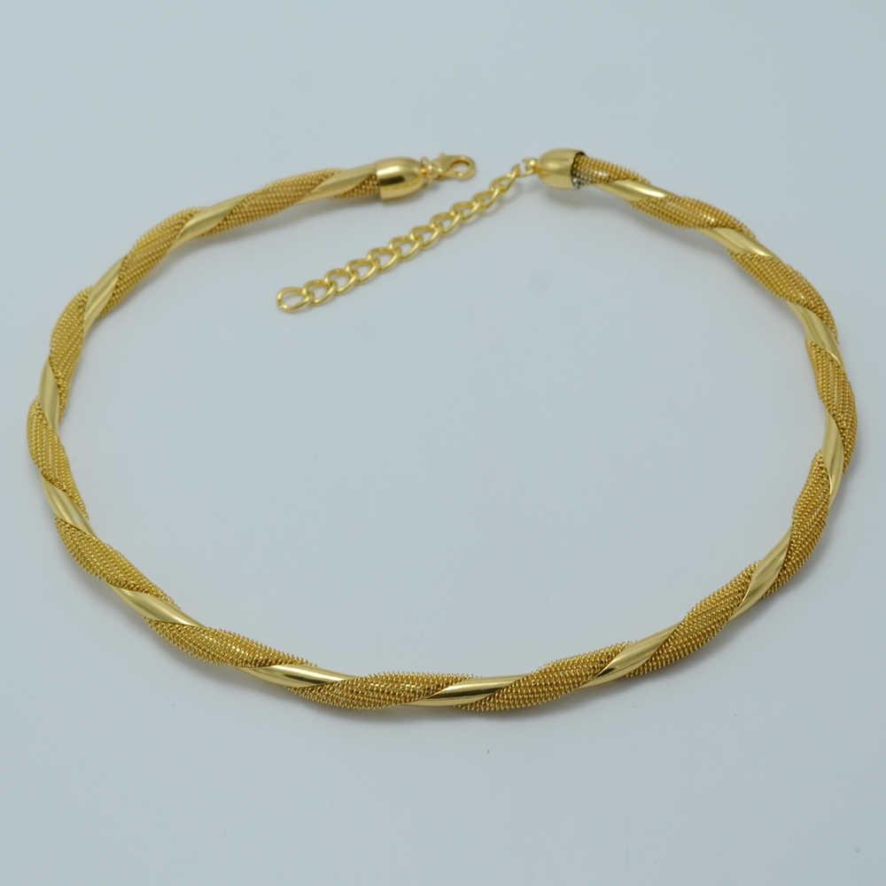 Anniyo 43 Cm + 7 Cm, chokers Dây Chuyền Nữ Vòng Cổ Màu Vàng Châu Phi Thời Trang Phụ Kiện Mới #003706