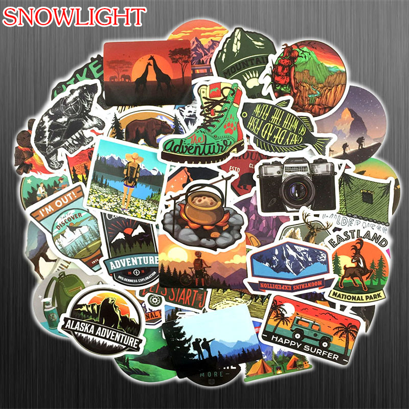 50PCS Adventure Travel Stickers Popular JDM Sticker Laptop Guitar Motocycle Luggage Skateboard Doodle Decor Toy Sticker