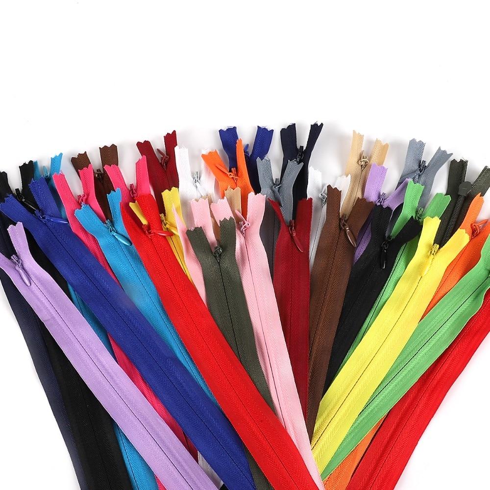 3# 10pcs/bag 28cm 35cm 40cm 50cm 55cm 60cm Long Invisible Zippers DIY Nylon Coil Zipper For Sewing Clothes Accessory