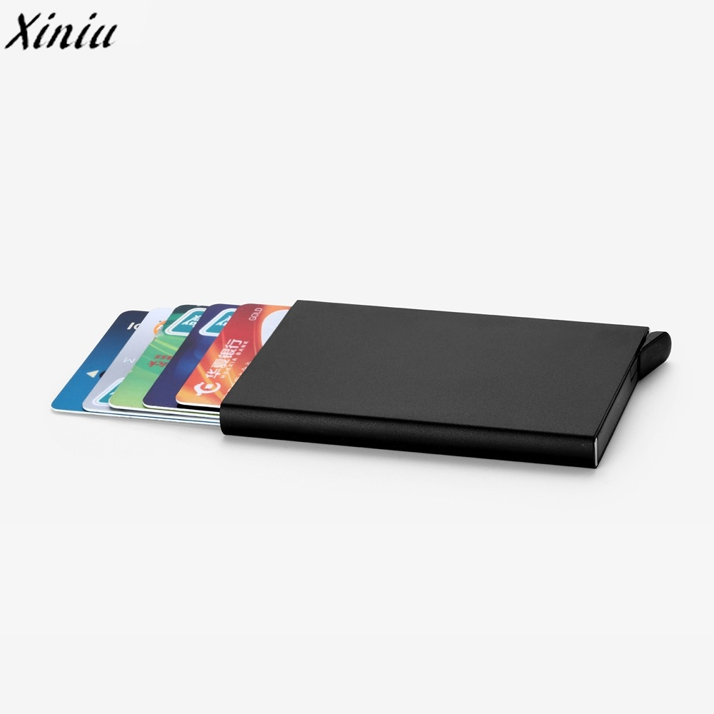 Men Women Card Case Solid Color Leather High Quality Bank Card ...