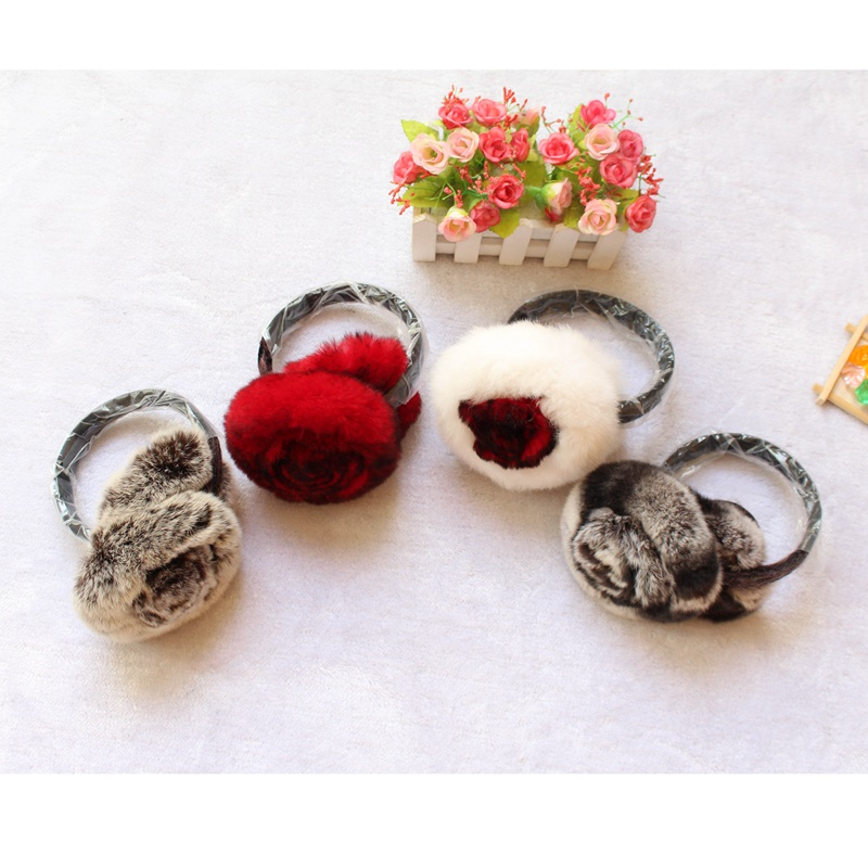 2018 New Genuine Real Rex Rabbit Fur Winter Ear Muffs For Women Girls Femme Earlap Ladie's Plush EarMuff Female Fur Headphones