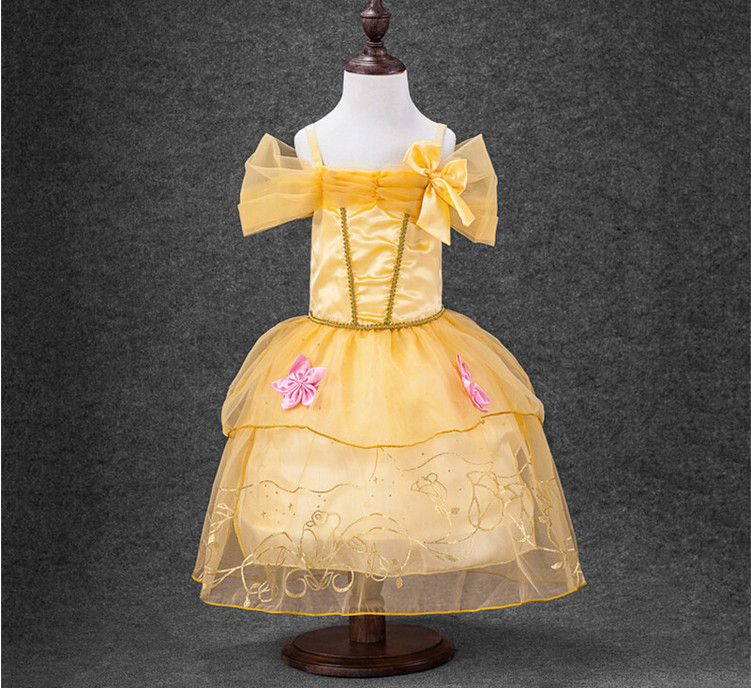 2017 New Cinderella Girls Dress Kids Children Clothes Princess Cosplay Dresses Costume For Party Wedding Yellow 2-10Y  2016 new girls dresses cotton summer cinderella mopping dovetail princess dress kids clothes party lovely children 2 10y t0084
