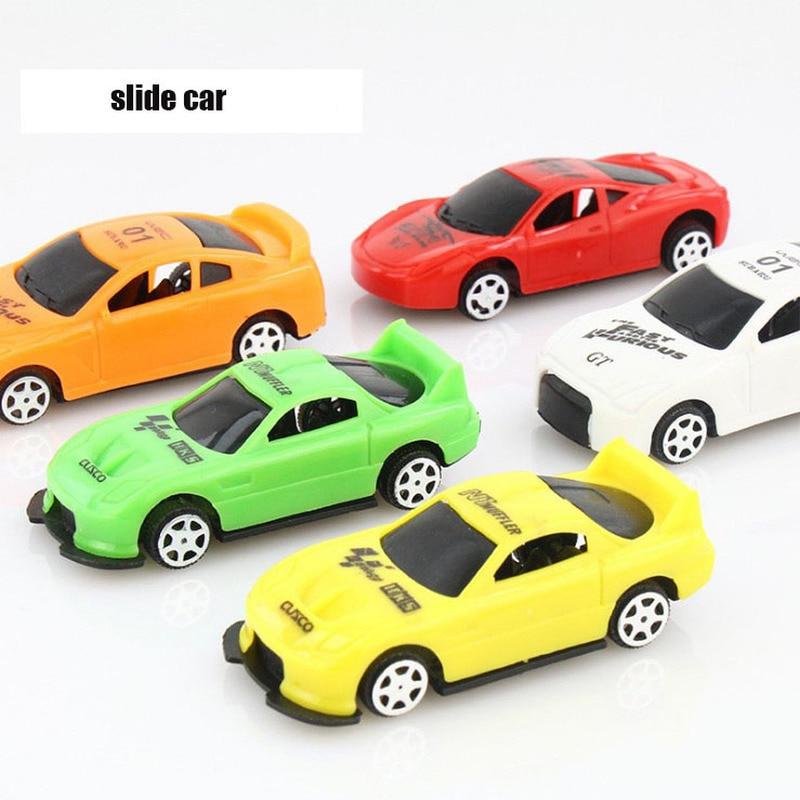 5pcs/set Creative Kids Mini Car Toy Cute Plastic Colorful Q Version Gliding Mini Toys For Children Birthday Gift Random Color