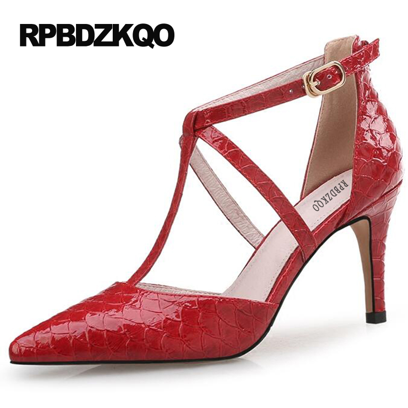 Pumps Green Dress Shoes Women Size 4 34 2017 Ankle Strap T High Heels Bar Thin Plus Red Small Pointed Toe Snakeskin 12 44 33 6cm 2 inch pointed toe 2017 thick ankle strap 4 34 small size china women pumps high heels shoes sandals brown retro clasp