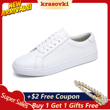 Krasovki Sneaker Women Basic Joker White Shoes Dropshipping  Spring New Korean Leather Leisure Couple Flat Slabs