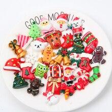 100PC/Set Cartoon Christmas tree Santa Claus DIY Resin Crafts Accessories DIY Children Hair Decoration Phone Case Accessories