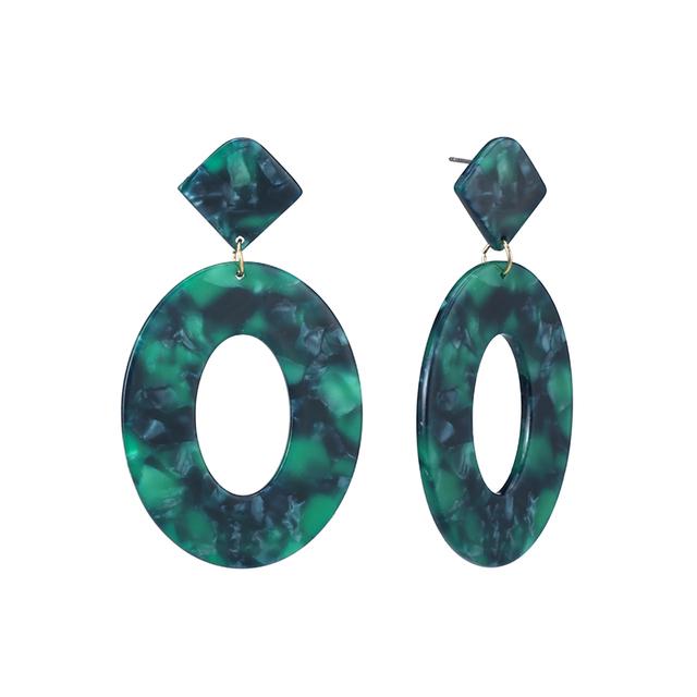 Acrylic Resin Oval Dangle  Geometry Tortoiseshell Earrings