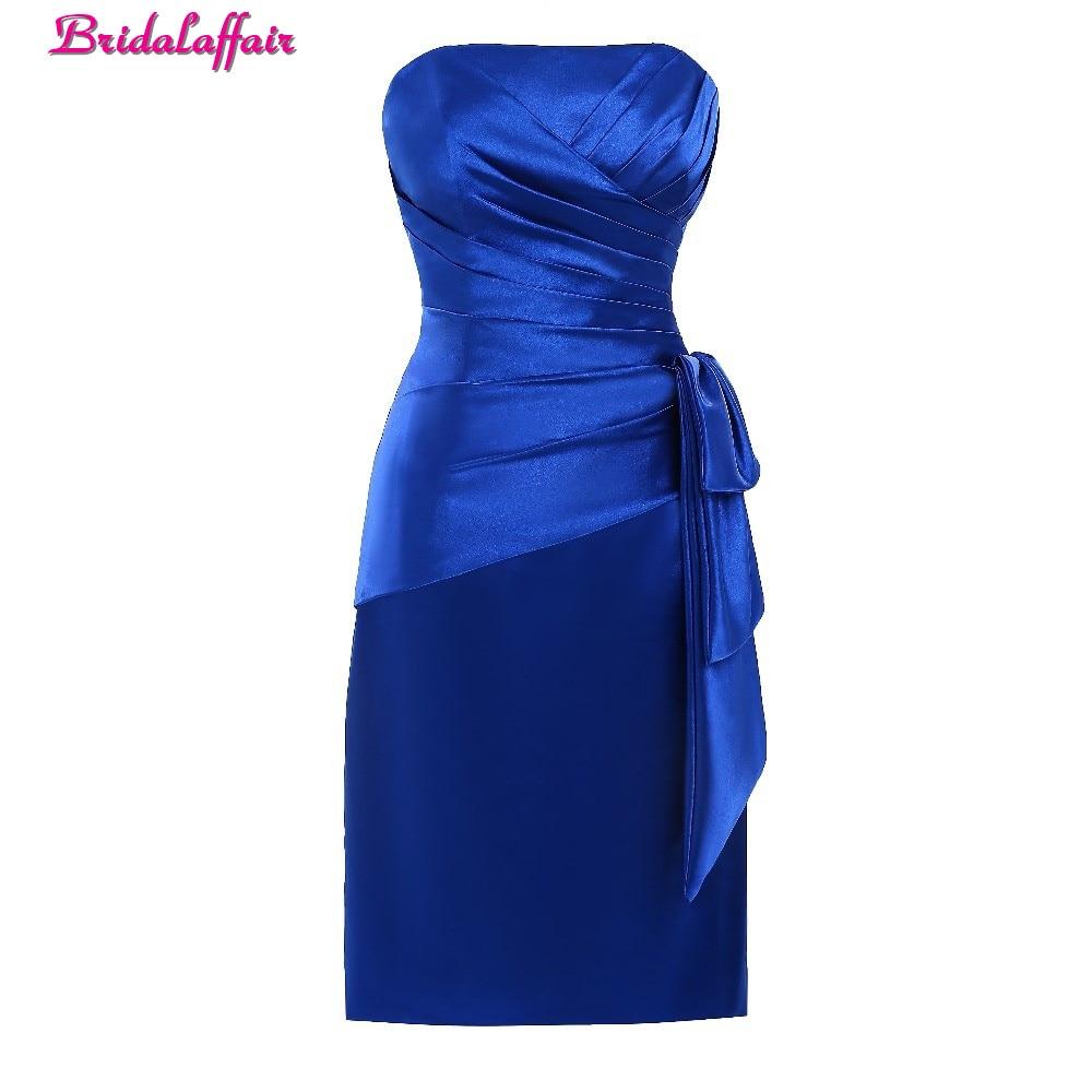 BridalaffairReal Photo Simple Blue Satin Strapless Neck   Prom     Dresses   2017 Cheap Knee Length Straight Party Gown Vestido de festa