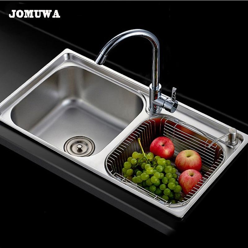 Kitchen Sink Set: JOMUWA Brushed Kitchen Sink Set, Drain Assembly Waste
