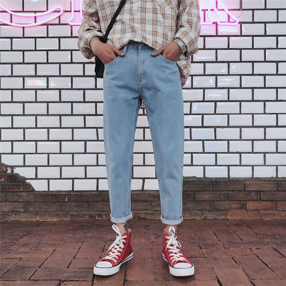 Fashion Casual Mens Jeans Spring And Autumn New M-5XL Solid Color Loose Harem Pants Black Light Blue Personality Youth Popular